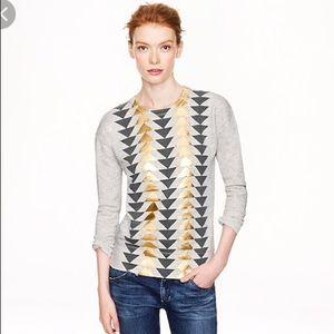 J. Cree jeweled triangle sweatshirt in gold
